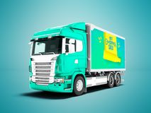 Modern turquoise truck with trailer with white insets for carryi stock illustration