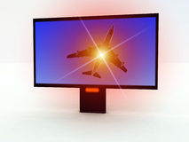 Modern TV 404. A computer created image of a modern TV set with a program on the screen Stock Photography