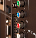 Modern TV audio video input panel controls Stock Photo