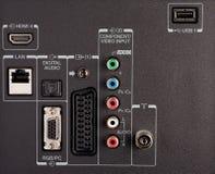 Modern TV audio video input panel controls Stock Photos