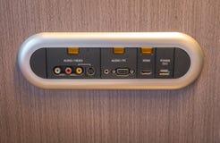 Modern TV audio video input panel on wall . Stock Image