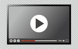 Modern TV blank screen with video player interface. Modern TV blank screen isolated on transparent background with video player interface. Vector illustration royalty free illustration