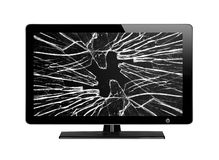 Modern TV with broken screen isolated on white. Background royalty free stock image