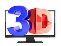 Modern TV with 3d effect on screen Royalty Free Stock Image
