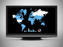 Modern TV with Earth map Stock Image