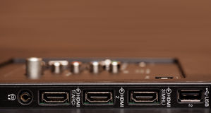 Modern TV HDMI input panel close-up shot Royalty Free Stock Photo