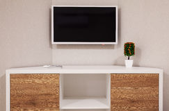 Modern TV and Room Corner Royalty Free Stock Image