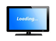 Modern TV screen with blue screen Royalty Free Stock Images
