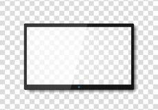 Modern TV screen. Display wide tv, digital realistic black screen illustration. 4k tv screen vector. LCD or LED tv screen royalty free illustration