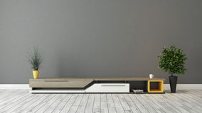 Modern tv stand with grey brown wall design Stock Image