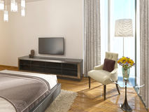 Modern TV unit in a hotel room of art Deco. Stock Images