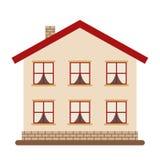 Modern twee-storied huis voor gelukkige grote familie Stock Foto