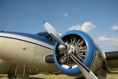 Modern twin engine. Twin engine propeller airplane for private or personal use Stock Photo