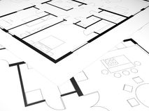 Modern two bedroom house plan Royalty Free Stock Image