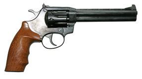 Modern two-colored revolver gun. Isolated modern two-colored firearm revolver gun Royalty Free Stock Photos