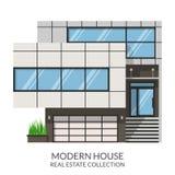 Modern two-storey grijs huis, onroerende goederenteken in vlakke stijl Vector illustratie Royalty-vrije Stock Afbeelding