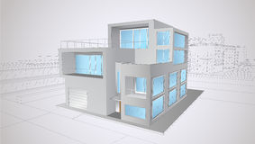 Modern  two-storey house Royalty Free Stock Images
