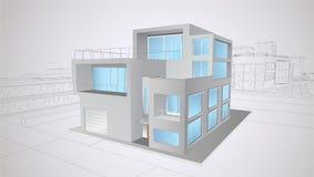 Modern two-storey huis Royalty-vrije Stock Afbeeldingen