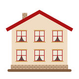 Modern two-storied house for happy big family. Stock Photo