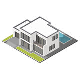 Modern two-story house with flat roof sometric icon set. Vector graphic illustration Royalty Free Stock Photo