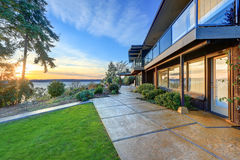 Modern two story panorama house with wraparound deck Royalty Free Stock Photo