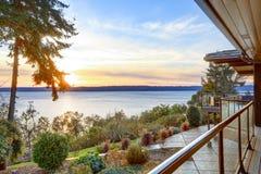 Modern two story panorama house with wraparound deck Royalty Free Stock Photos