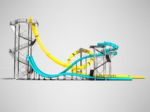 Modern two yellow and blue water slides for an aquapark on the s vector illustration