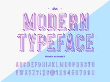 Modern typeface trendy colorful line style typography. Sans serif font for t shirt, promotion, party poster, book, card, sale banner, printing on fabric Stock Photography