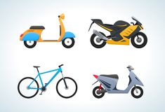 Modern types street transportation in transport: scooter, sports bike, bicycle. Royalty Free Stock Photography