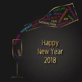 Modern typografi 2018 för nytt år för vektor Champagne Bottle och exponeringsglas royaltyfri illustrationer