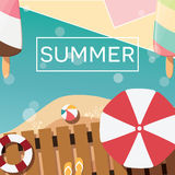 Modern typographic summer poster design with ice cream, beach and geometric elements Royalty Free Stock Photos