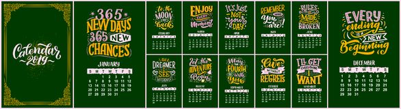 Modern typography lettering compositions. 2019 calendar with funny motivation quotes. Hand drawn illustrations. Trendy slogan,. Modern typography lettering royalty free illustration