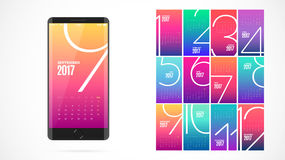 Modern UI screen design. Color calendar for the year 2017. Modern UI, GUI screen vector design for mobile app with UX and flat web icons. Color calendar for the royalty free illustration
