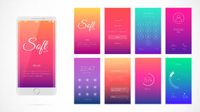 Modern UI screen design for mobile app with web icons. Modern UI, GUI screen vector design for mobile app with UX and flat web icons. Wireframe kit for Lock Royalty Free Stock Images