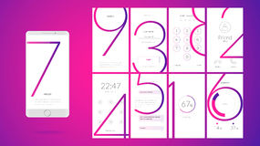 Modern UI screen design for mobile app with web icons. Modern UI, GUI screen vector design for mobile app with UX and flat web icons. Wireframe kit for Lock royalty free illustration