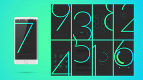 Modern UI screen design for mobile app with web icons. Modern UI, GUI screen vector design for mobile app with UX and flat web icons. Wireframe kit for Lock Royalty Free Stock Photography