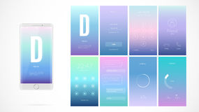 Modern UI screen design for mobile app with web icons. stock illustration