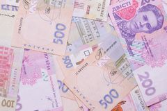 Modern Ukrainian money background - hryvnia. 200 and 500 banknotes. UAH. Money concept royalty free stock photo
