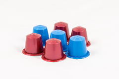 Modern unbranded colorful capsules for espresso coffee machine Stock Images