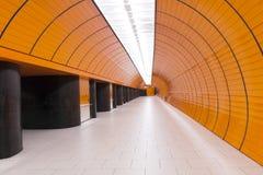 Modern underground. Corridor interior with ceiling light Stock Photos