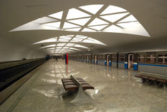 Modern underground station (Moscow) Royalty Free Stock Image