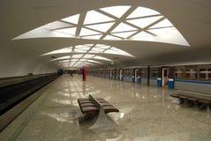 Modern underground station (Moscow). Strogino - modern Metro (underground) station (Moscow Royalty Free Stock Image