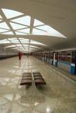 Modern underground station (Moscow). Strogino - modern Metro (underground) station (Moscow Royalty Free Stock Photography