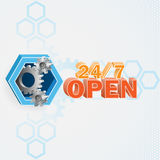 Modern and unique idea for 24/7 Open sign. Modern and unique idea for 24/7 Open sign with cog wheels inside a hexagon Royalty Free Stock Image