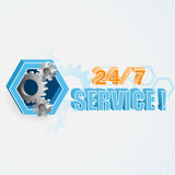Modern and unique idea for 24/7 Service sign. Stock Image