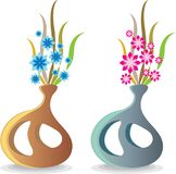 Modern unique vase with flowers vector illustration Stock Photos
