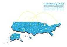 Modern of United Satate of America Map connections network design, Best Internet Concept of  map business from concepts series. Map point and line composition Stock Images