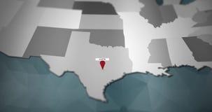 Modern United States motion graphics map - Austin Pin Location Animation royalty free illustration