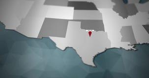 Modern United States motion graphics map - Dallas Pin Location Animation stock illustration