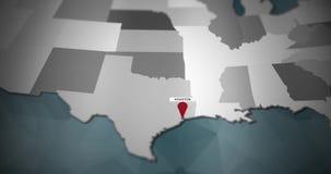 Modern United States motion graphics map - Houston Pin Location Animation vector illustration